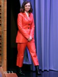 Elsie Fisher's ASOS Red Leather Suits Pops On The Tonight Show Starring Jimmy Fallon
