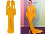 Eva Longoria's Dundas Embellished Crêpe-Jersey Gown