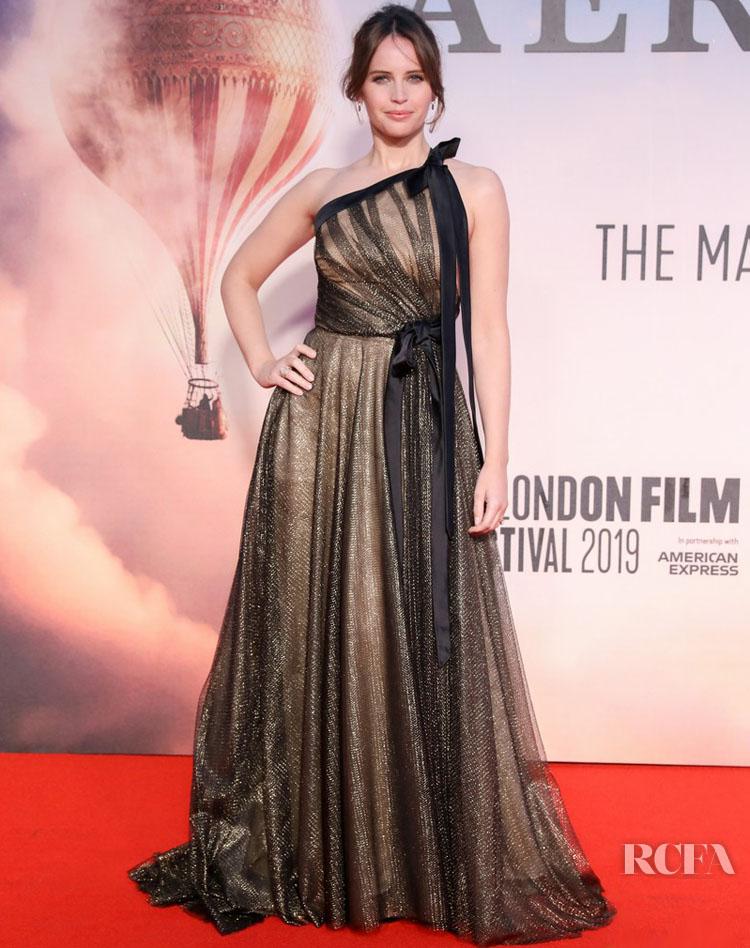Felicity Jones Wears Oscar de la Renta For 'The Aeronauts' London Film Festival Premiere
