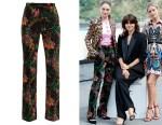 Raffey Cassidy's Paco Rabanne Floral-Print Velvet Trousers