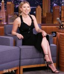 Scarlett Johansson Dons A Sultry Versace LBD On Jimmy Fallon