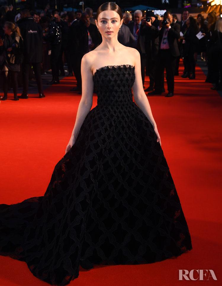 Thomasin McKenzie Has A Princess Moment In Oscar de la Renta For 'The King' London Film Festival Premiere