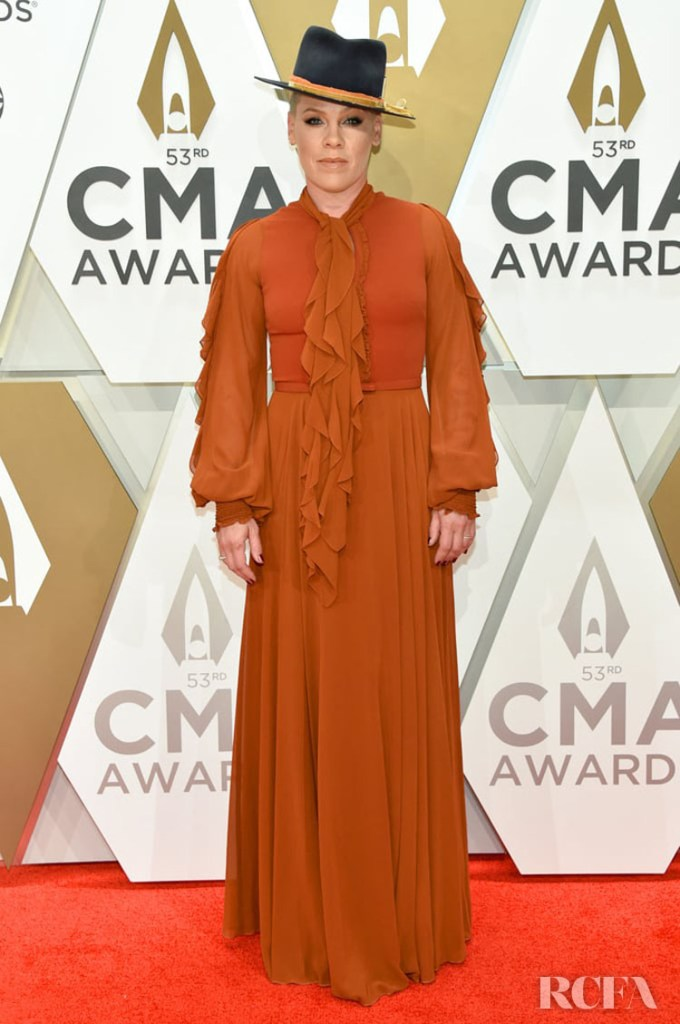 Pink in Julea Domani by Zeena Zaki  - 2019 CMA Awards