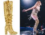 Jennifer Lopez's Stuart Weitzman Steel Gold Sequin Boots