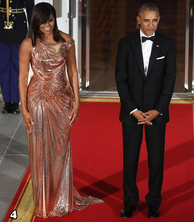 Michelle Obama In Atelier Versace -  Italian Prime Minister Visits The White House