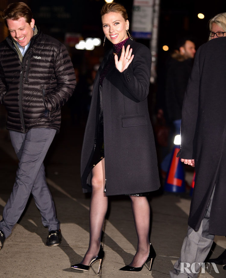 Scarlett Johansson Makes A Stylish Arrival For The Late Show with Stephen Colbert