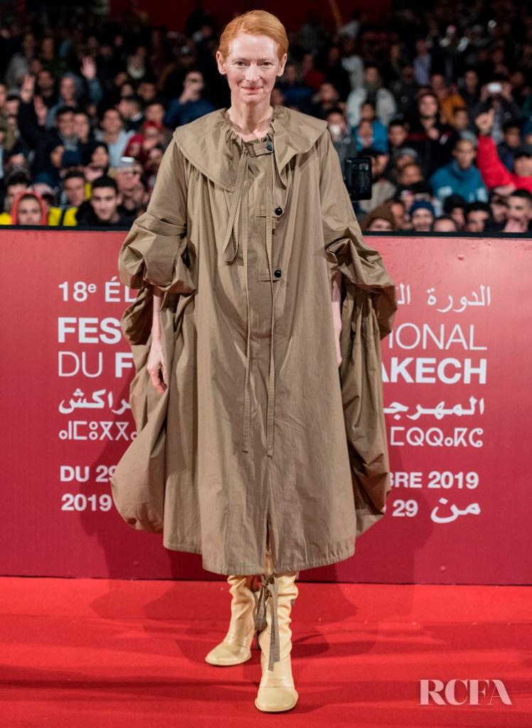 Tilda Swinton Rocks A Directional Coat For The 'Snowpiercer' Marrakech Film Festival Screening