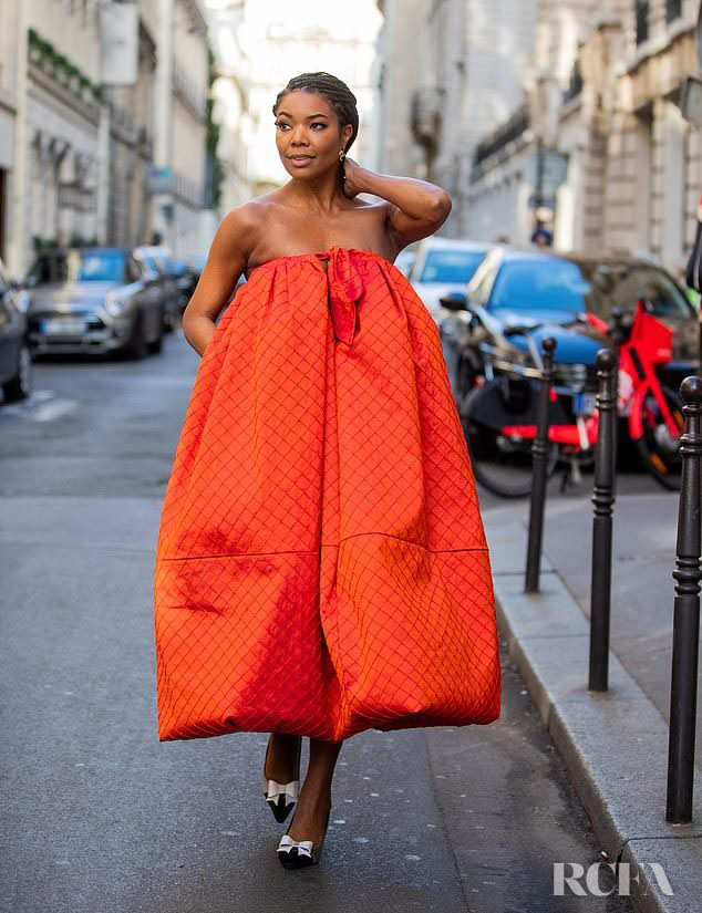 Gabrielle Union Wore Christopher John Rogers Orange Dress During Menswear Fashion Week