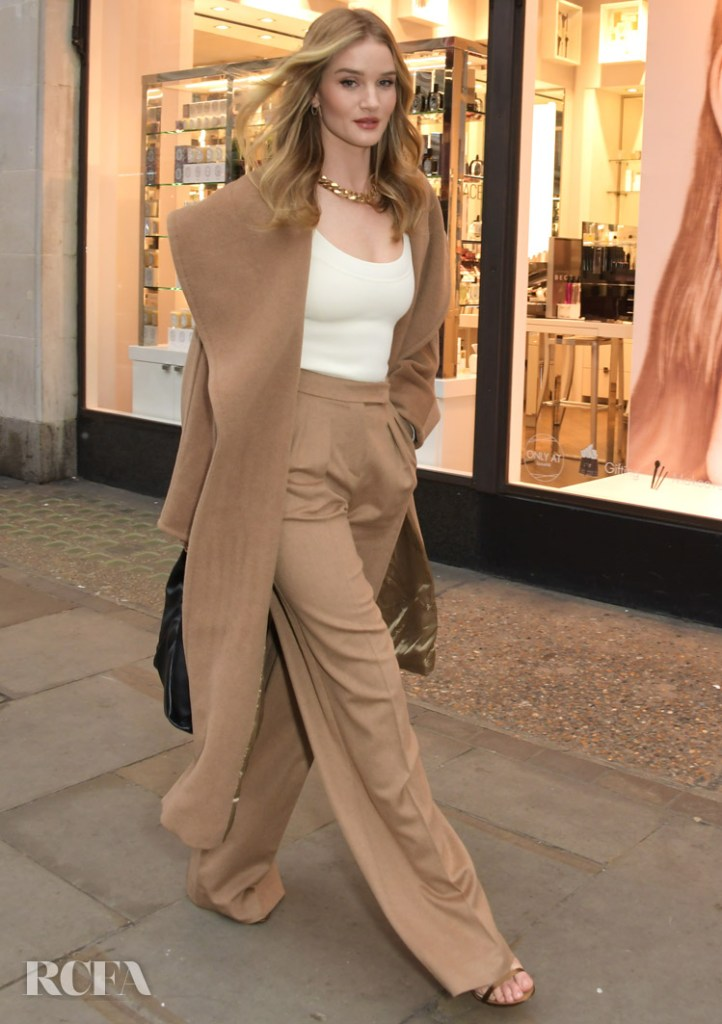 Rosie Huntingdon-Whiteley Wore Max Mara To Launch The Hourglass Vanish Concealer Window Campaign For Space NK