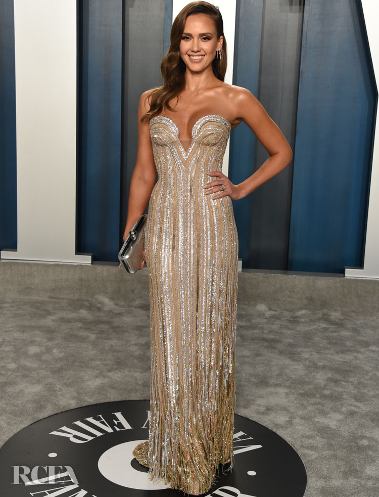 Jessica Alba In Atelier Versace - 2020 Vanity Fair Oscar Party