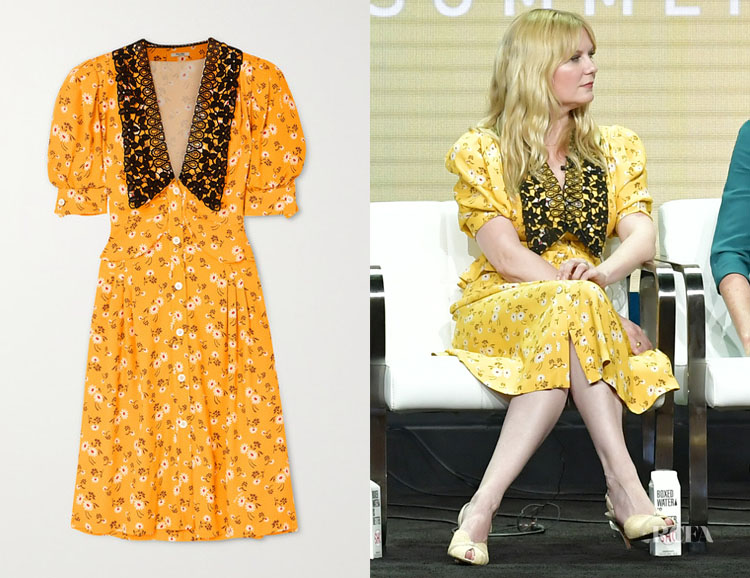 Kirsten Dunst's Miu Miu Lace-Trimmed Floral-Print Dress