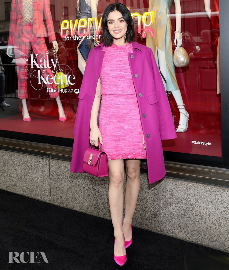 lucy hale kate spade new york pink dress
