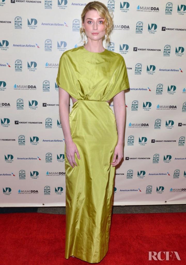 Elizabeth Debicki Wore Prada To 'The Burnt Orange Heresy' Miami Film Festival Screening