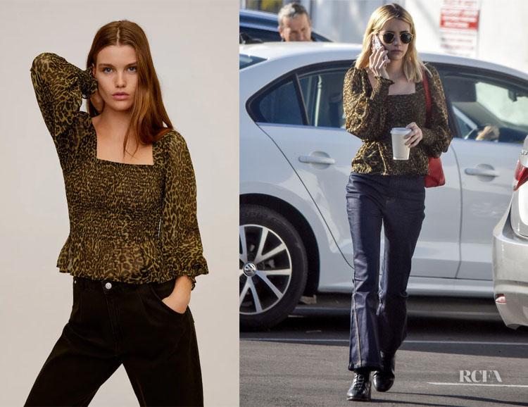 Emma Roberts' Mango Elastic Leopard-Print Blouse