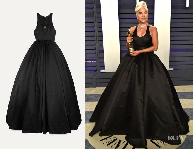 Lady Gaga Brandon Maxwell Cutout Duchesse Silk-Satin Gown