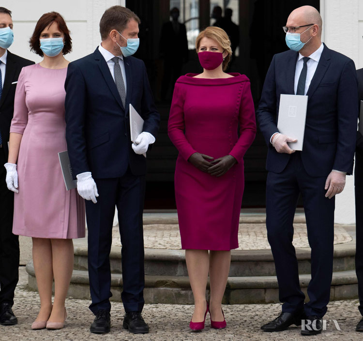 President Zuzana Čaputová of Slovakia Colour Co-ordinates Her Face Mask To Her Outfit