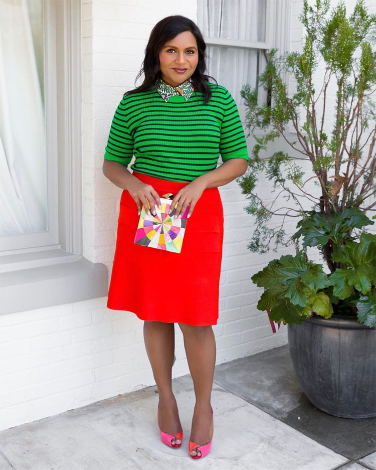 Mindy Kaling's Colourful Quarantine Style