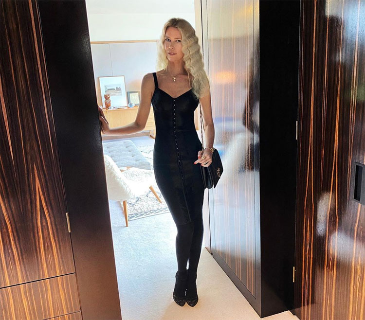 Claudia Schiffer Celebrates Her 50th Birthday in Dolce & Gabbana