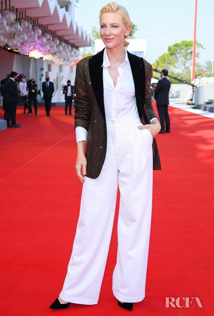 Cate Blanchett Wore Giorgio Armani To The 'Khorshid' (Sun Children) Venice Film Festival Premiere