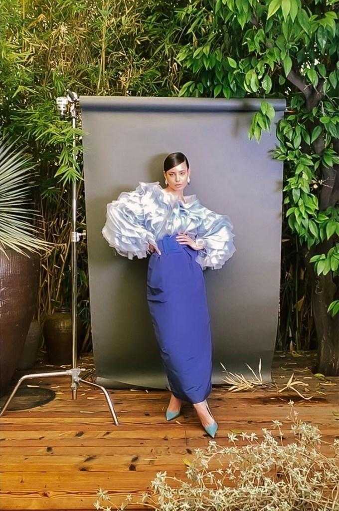 Sofia Carson Wore Carolina Herrera For The CFDA Digital FaceTime Campaign Shoot