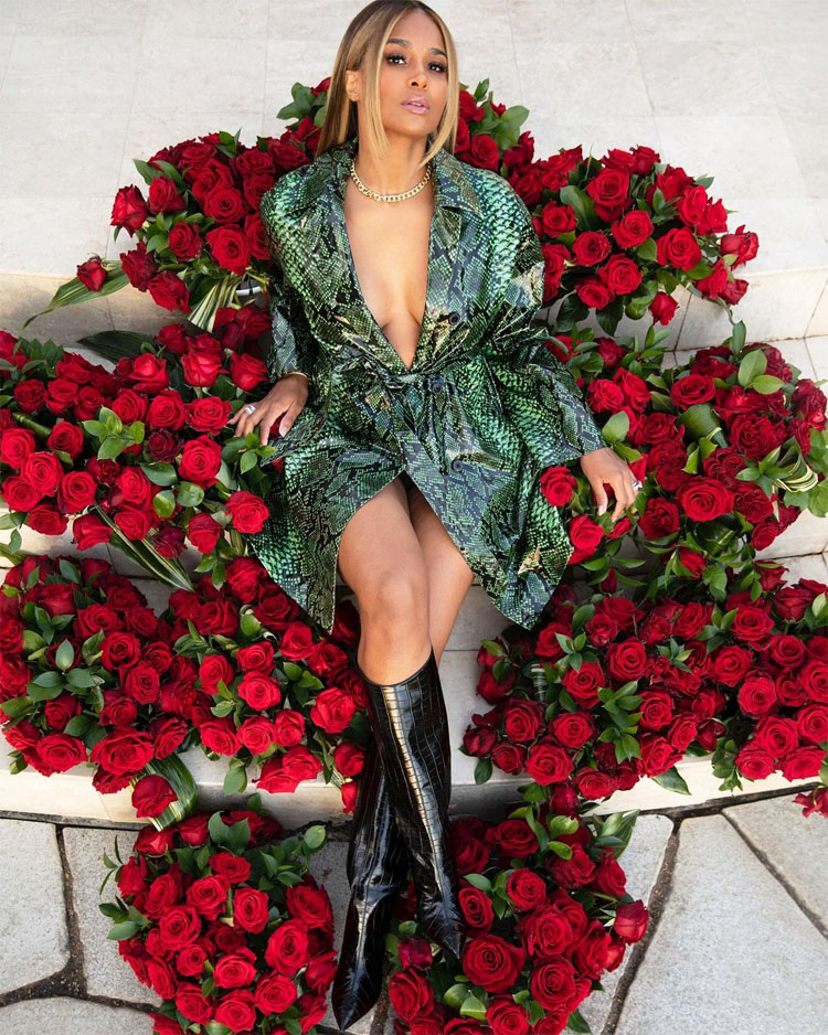 Ciara Celebrates Her 35th Birthday In Roses & Snake Print