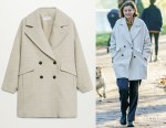 Emma Corrin's MANGO Wool Double-Breasted Coat