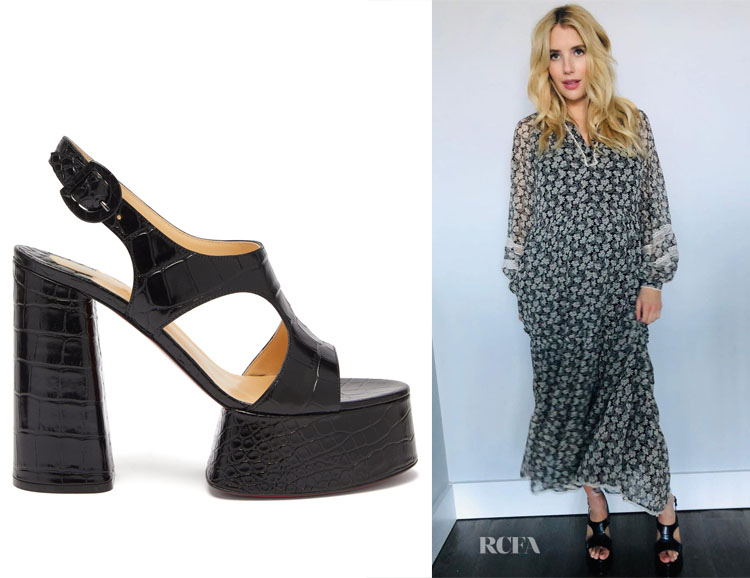 Emma Roberts' Christian Louboutin Foolish Croc-Effect Platform Sandals