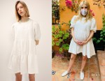 Emma Roberts' Storets Siena White Puff Sleeve Jacquard Dress