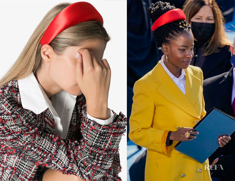 Amanda Gorman's Red Prada Satin High-Shine Wide Headband