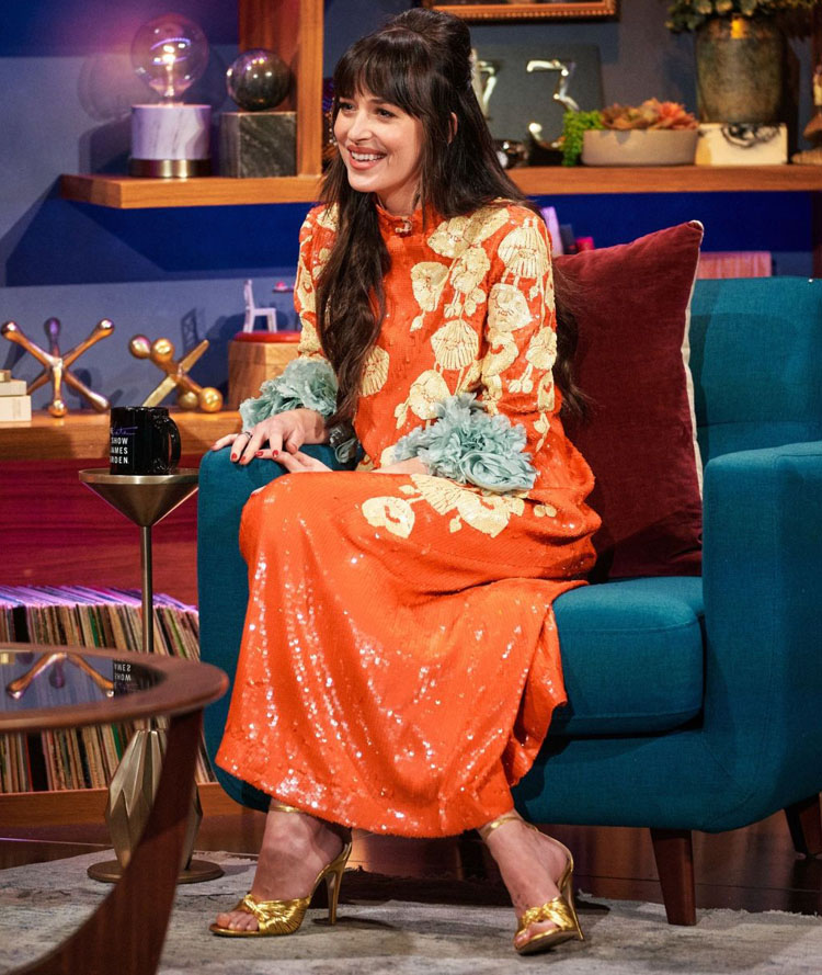Dakota Johnson Wore Gucci For The Late Late Show with James Corden