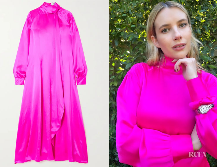 Emma Roberts' Christopher John Rogers Neon Pink Dress