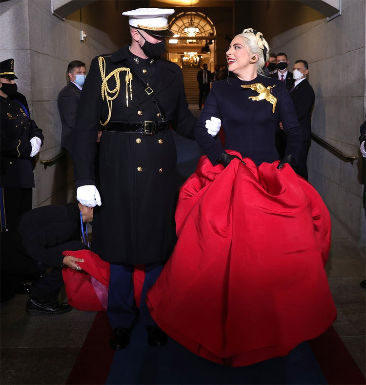 Lady Gaga Wore Custom Schiaparelli Haute Couture Singing At Joe Biden's Inauguration