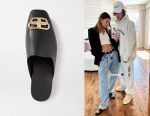 Hailey Bieber's Balenciaga BB Square Toe Black Leather Slippers