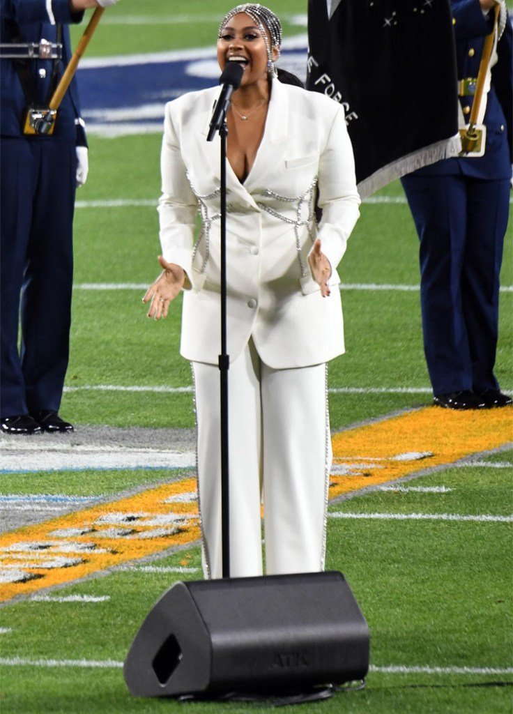 Jazmine Sullivan Wore Area Performing The National Anthem At The 2021 Super Bowl LV
