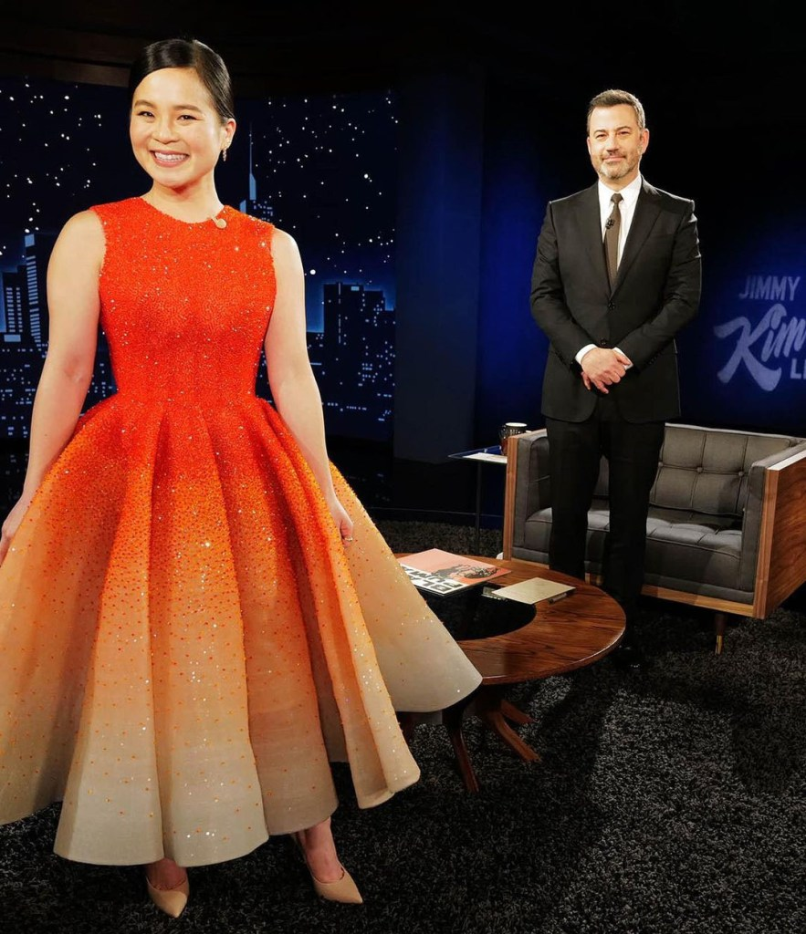 Kelly Marie Tran, Michael Cinco Couture, Jimmy Kimmel Live, Kelly Marie Tran Michael Cinco Couture, Kelly Marie Tran Jimmy Kimmel Live, Kelly Marie Tran Orange Dress, Michael Cinco Spring 2020 Couture,