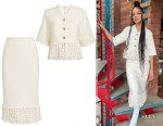 Tessa Thompson's St. John Ivory Fringe Jacket & Skirt