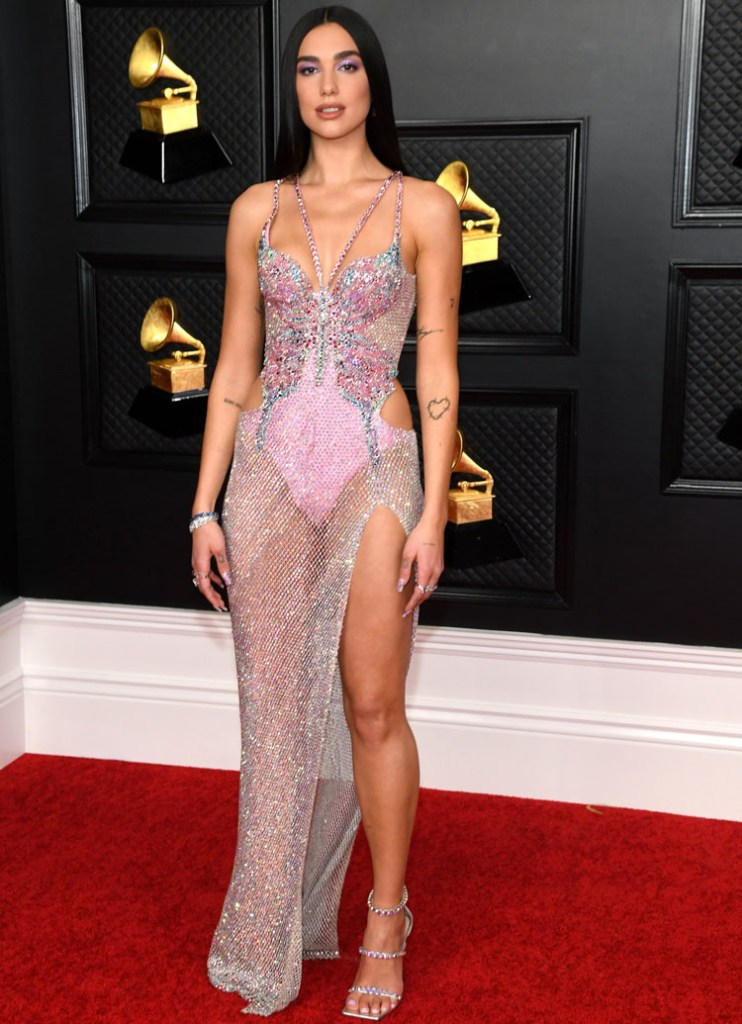 Dua Lipa Wore Atelier Versace To The 2021 Grammys