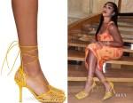 Jordyn Woods' Bottega Veneta Yellow Mesh Heels