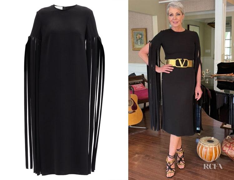 Allison Janny's Valentino Fringe-Sleeve Silk Midi Dress