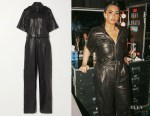 Demi Lovato's Helmut Lang Black Belted Leather Jumpsuit