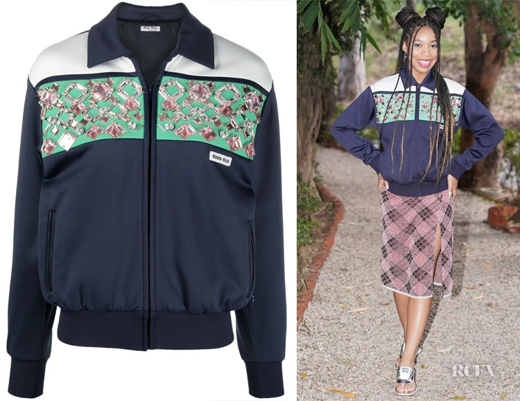 Kyla Drew's Miu Miu Embroidered Fleece Blouson Jacket