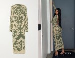 Kylie Jenner's Ioannes Open-Back Printed Stretch-Mesh Maxi Dress