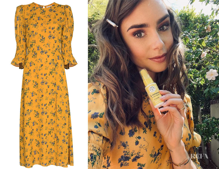 Lily Collins' Reformation Carolena Floral Print Midi Dress