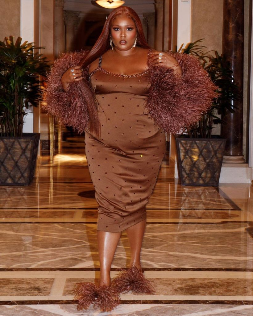 Lizzo Rocks Chocolate Brown Dolce & Gabbana For Her Las Vegas Birthday Celebrations