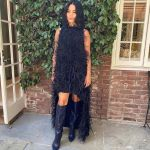 Vanessa Hudgens Wore Cult Gaia's Emi Feather Dress For The 'Gram