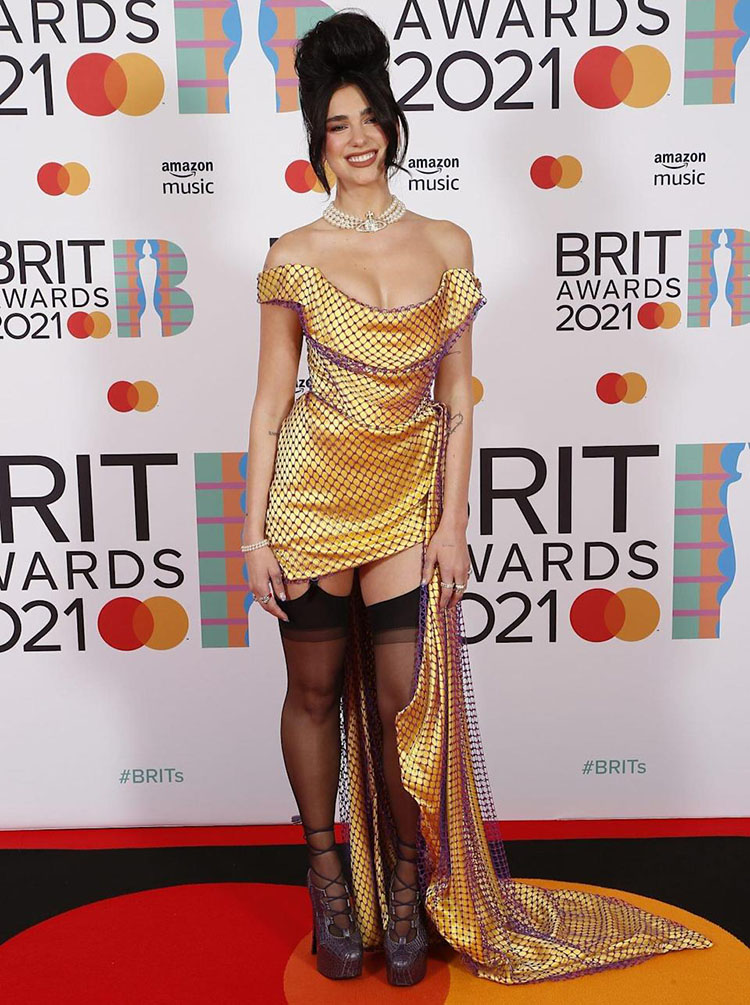 Dua Lipa Wore Two Custom Vivienne Westwood Look For The BRIT Awards 2021