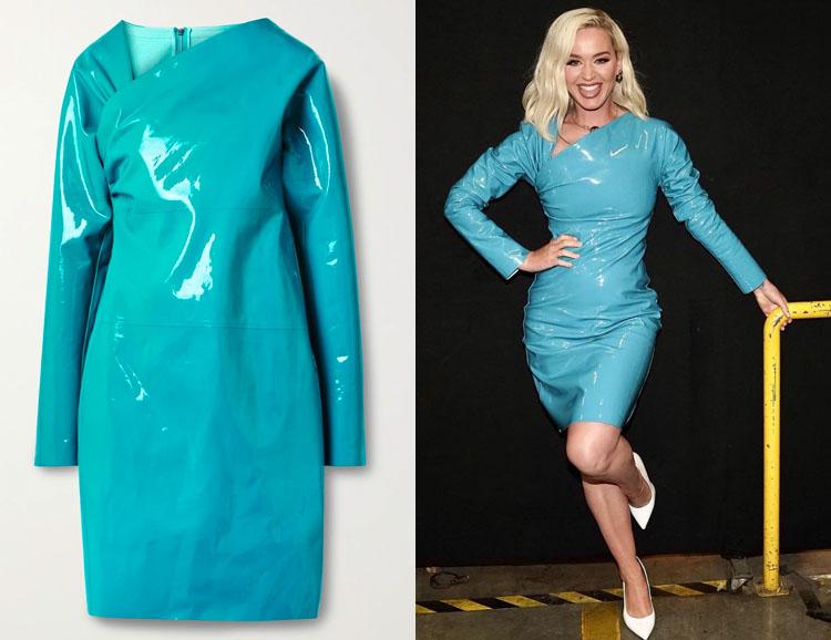 Katy Perry's Bottega Veneta Asymmetric Patent-Leather Dress