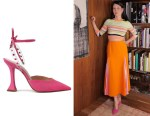 Lucy Liu's Schutz Mareah Pink Vinyl & Suede Leather Pumps