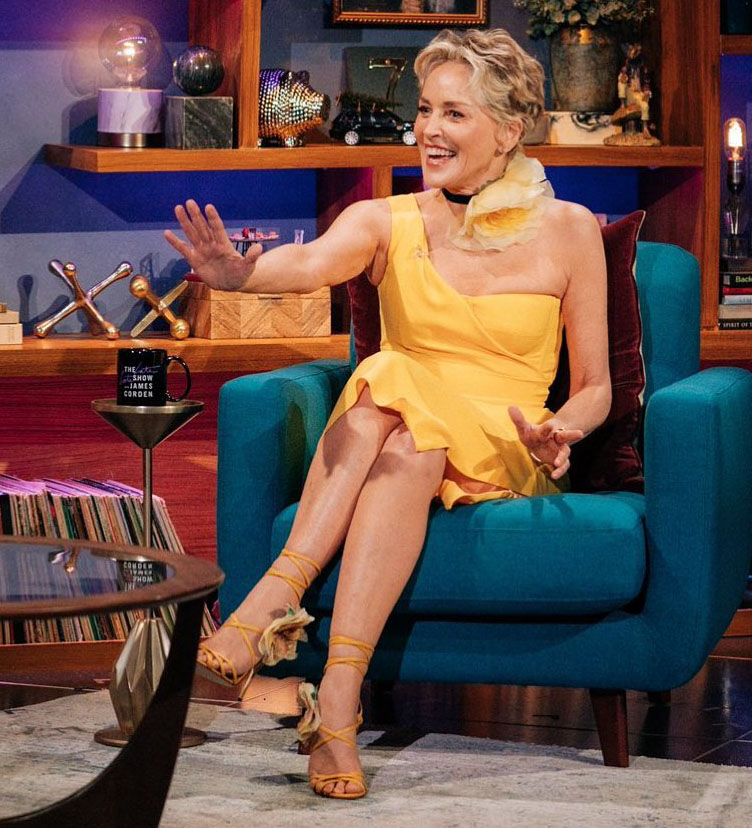 Sharon Stone Wore Dolce & Gabbana On The Late Late Show with James Corden