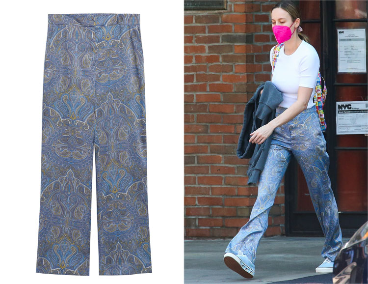 Brie Larson's MANGO Paisley Print Pants